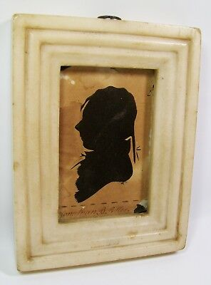 Rare Marble Frame Antique 19th Century Silhouette Boy Jonathan B Potter  [8183]