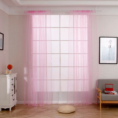 Plain Color Door Window Voile Rod Pocket Room Curtain Sheer Valance