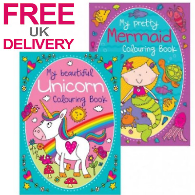 Childrens Colouring Book Unicorn Mermaid Kids Coloring Pages Girls Activity 2X