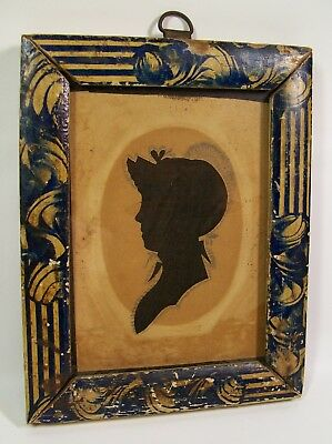 Rare Painted Frame Antique 19th Century Silhouette Lady in Profile [8167]