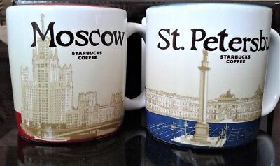 Russia Starbucks Global 2018 3 fl oz coffee cups Moscow St. Petersburg Set of 2