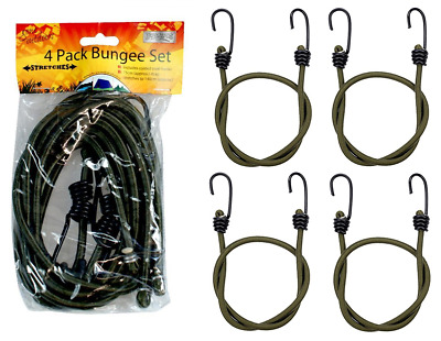 4 x Heavy Duty 75cm Bungee Elastic Cord Metal Hook Camping Fishing Luggage Strap