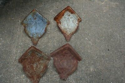 """Lot of 4 Matching Set 7"""" Antique Ceiling Tin Corners Vintage Reclaimed Salvage"""