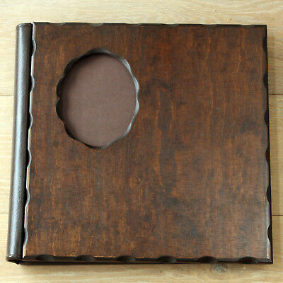 Classic Albums Dark Wood Wedding Album Oval Inset With Leather Spine 20 Pages