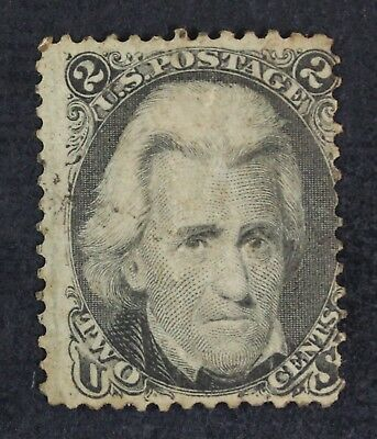 CKStamps: US Stamps Collection Scott#73 2c Jackson Mint H OG Crease Spot Thin