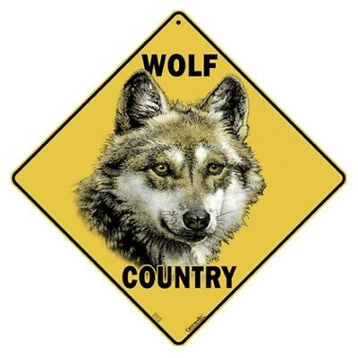 Wolf Country Sign NEW 12X12 Metal Lobo Gray