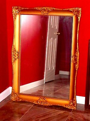 GORGEOUS LARGE FRAME French Royal Baroque Gild Ornate Hollywood Mirror Painting
