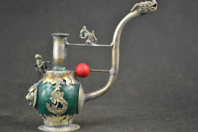 Old Handwork Green Jade inlay Pipe Tibet Silver Dragon Smoking Pipe Collectible