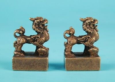 2 Unique Chinese Bronze Statue Seal Kirin Solid Mascot Collection Gift