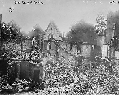 Senlis France street with ruined buildings 1914 World War I WWI 8x10 Photo