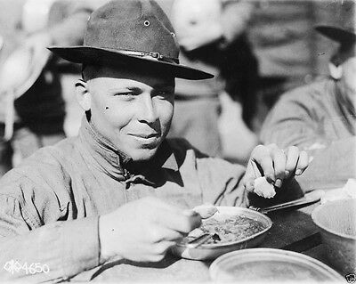 US Soldier Doughboy eating at training camp World War I WWI 8x10 Photo
