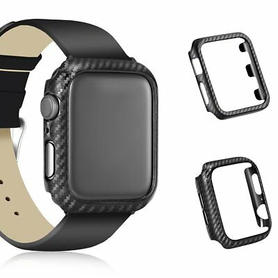 Black Carbon Fiber Frame Bumper iWatch Protector Case For Apple Watch Series 4-1