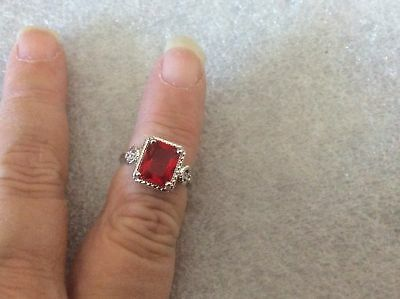 NWOT Silver Plate Red Crystal Emerald Cut Ring Size 6