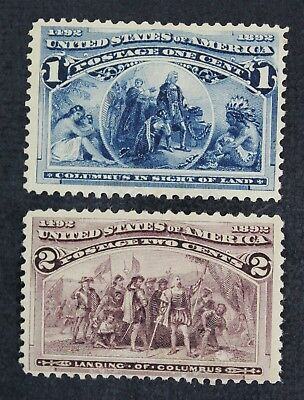 CKStamps: US Stamps Collection Scott#230 231 Columbian Mint H OG, #231 Gum Bend
