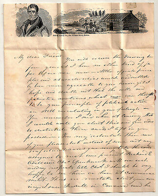 Stampless PRESIDENT HARRISON Log Cabin ILLUSTRATED Folded Letter Sheet CONTENT