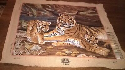 Vintage, Large    Completed Tapestry Of  Tiger With Cubs