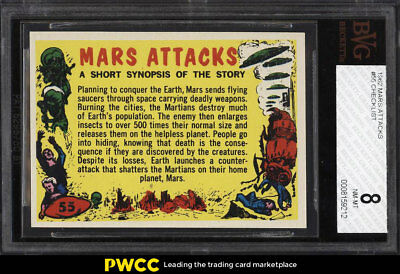 1962 Topps Mars Attacks Checklist #55 BVG 8 NM-MT (PWCC)