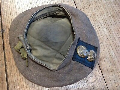 Early Original Scotish Ww1 Or Ww2 Glengarry Officers Badged Service Beret Hat
