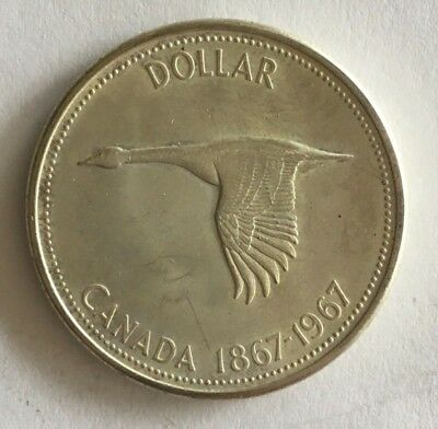 1967  - Canadian  Commemorative Silver Dollar .800 Silver- Very Fine Condition