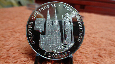 Liberia 2000 5 Dollar World Heritage Kölner Dom Cologne Cathedral  40mm