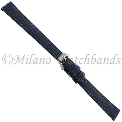 12mm Milano Point Navy Blue Lizard Grain Genuine Leather Ladies Watch Band Reg