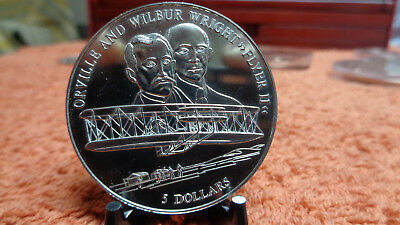 Liberia 2000 5 Dollar Wilbur Orville Wright Flyer II Aviation  40mm
