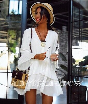 016e4331d4a60 Zara Woman Off White Contrasting Pleated Dress Flowing Blouse Shirt Top  Size M