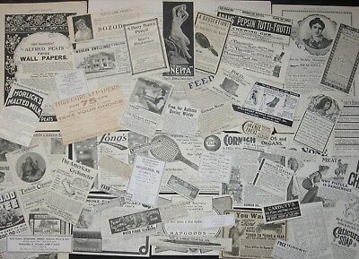 50pc!Old Ads Mix~Antique Victorian 1890s-1900s&Vtg 1930s&60s~Paper Ephemera Lots