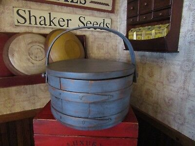 Vintage Firkin W/2 Bentwood Fingers - Bentwood Handle Moves Freely - Make-Do Lid