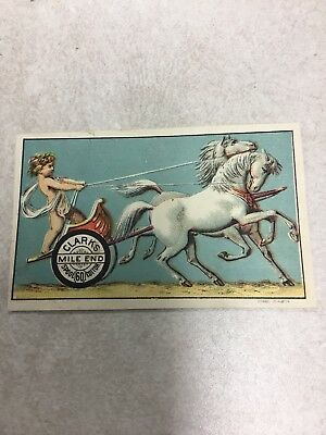 Early Clark's Thread - Cherub In Chariot Horses Victorian Trade Card Original