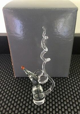 Clear Glass Mouse ornament with Corkscrew tail Gorgeous Collectable