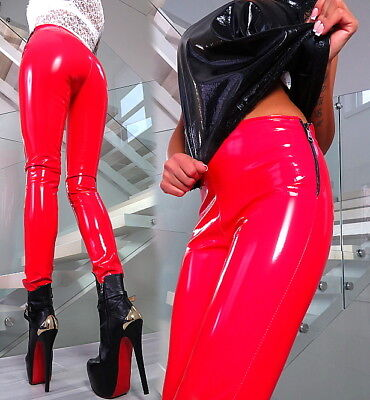 Rot Best Stretch Hose Made In Italy Luxus Lack Glanz B280 Sexy Fit Red Pants M