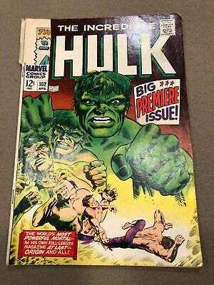 The Incredible Hulk #102 (Apr 1968, Marvel).  First Hulk Issue