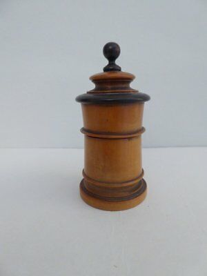 Stunning Little Treen Jar & Cover Of Rare Form ~ Hand Turned & Carved