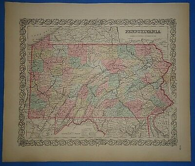Vintage 1857 PENNSYLVANIA Map - Old Original Hand Colored Colton's Atlas
