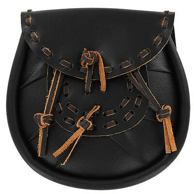 Medieval Scottish Soot Leather Day Sporran Pouch