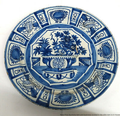 Antique Chinese Ming Early Qing Or Dutch Delft 12in Blue White Porcelain Plate