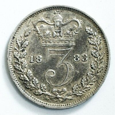 1883 Great Britain Three Pence - XF/AU Detail - KM# 730 - .925 Silver