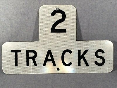 "Vintage Two Tracks Aluminum Railroad Sign Reflective Coating 27 1/4""  wide Used"