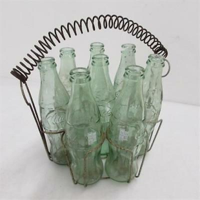 Vintage Coca Cola Coke Bottles Green 1 Pint 10 oz with Wire Basket Lot of 8x