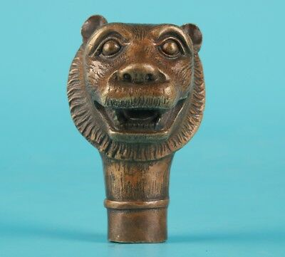 Bronze Tiger Hand Carving Crutches Walking Stick Head Gift Collection