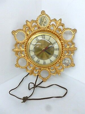 """Vintage 13"""" Gold Gilded United Religious Jesus Christ Wall Clock"""