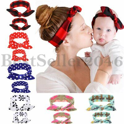 2PCS Mommy and Baby Matching Headbands Rabbit Ears Soft Cotton Bowknot Hair Band
