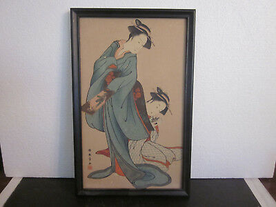Vtg Japanese Watercolor Water Color Painting On Cardboard 2 Geisha Signed Japan