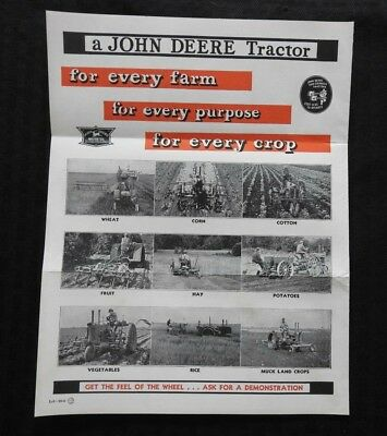 Original 1936 John Deere D Ar Br A B An Bn Aw Bw Ao Bo Tractor Brochure Signed