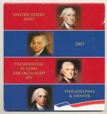 2007 Us Mint Presidential $1 Coin Uncirculated Set Philadelphia & Denver
