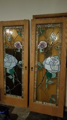 """~ Stained Glass Pocket Doors Oak ~ 30"""" W X 80"""" L~ Architectural~"""