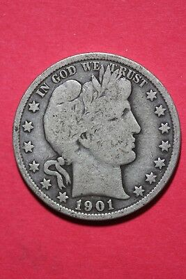1901 P Barber Liberty Half Dollar Exact Coin Pictured Flat Rate Shipping OCE 539