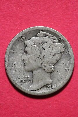 1921 P Winged Mercury Dime Exact Coin Shown 90% Silver Flat Rate Shipping OCE548