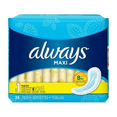 Always Maxi Pads, Size 1 Regular, without Wings, Unscented, 24 Ct